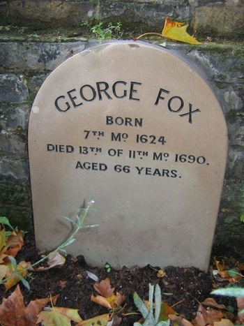 """After 1690 - Grave of George Fox, Quaker Gardens, London (England). """"In keeping with Quaker beliefs in plainness & modesty, his grave has only a simple marker."""""""