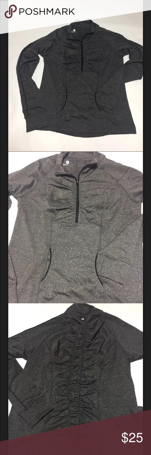 90 Degrees by Reflex Yoga/Run top SZ M NWOT NWOT 90 Degrees by Reflex Yoga- Running top. Ruching on chest and down the back. Dark grey with white flecks. Long sleeve top/jacket. Thumb holes. Two pockets on front. Size medium. 90 Degrees by Reflex Tops Sweatshirts & Hoodies