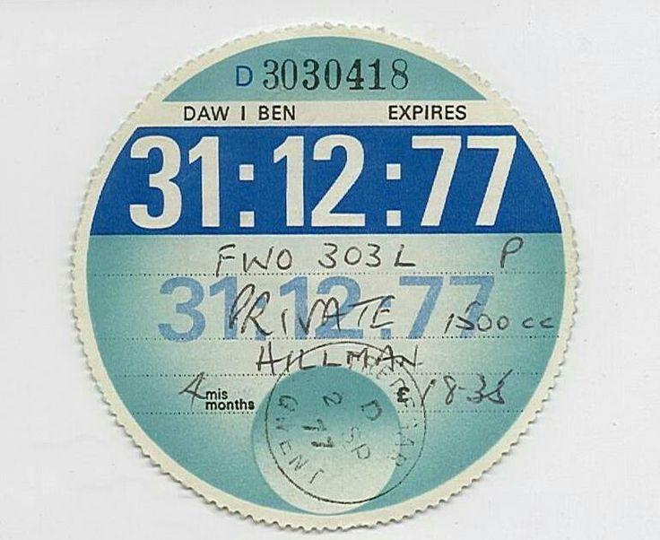 Tax Disk (1977) handwritten!