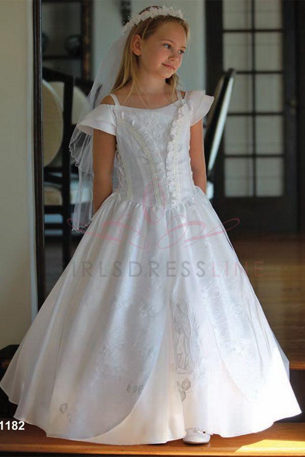 Great Off the shoulder First Communion Dress MDR on GirlsDressLine Com