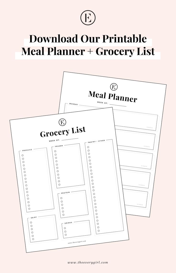Download Our Printable Meal Planner and Grocery List