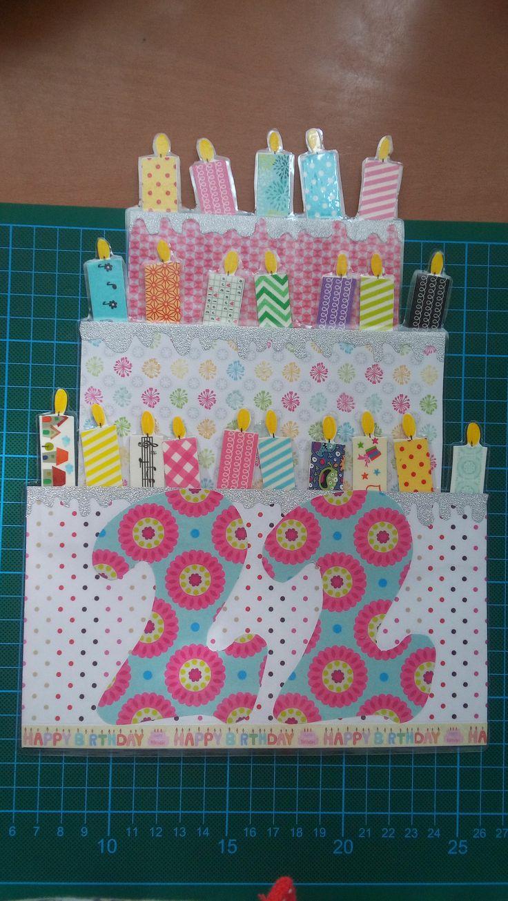 #tarjeta #cumpleaños #happy #birthday #22 años #22years #felicitación #sorpresa #scrap #washitape #velas #decoración #purpurina