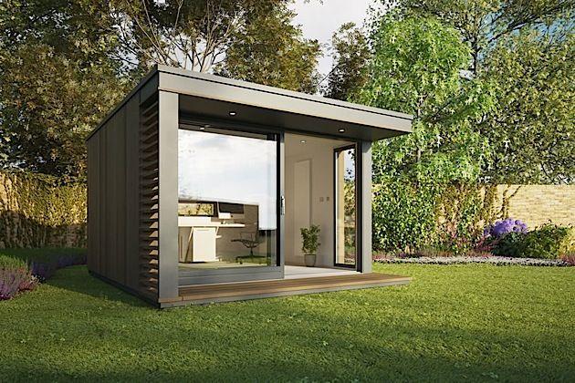 Sieht das nicht toll aus? Das wäre doch das ideale Büro für den Sommer. Schön irgendwo mitten im Grünen. Und wenn man dann die große Schiebetür offen hat, sitzt man quasi wie im Garten mit seinem Schreibtisch und hat trotzdem ein richtiges Büro. Das kleine