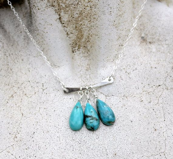 Hammered Sterling Silver Bar Necklace with Turquoise by LunarBelle