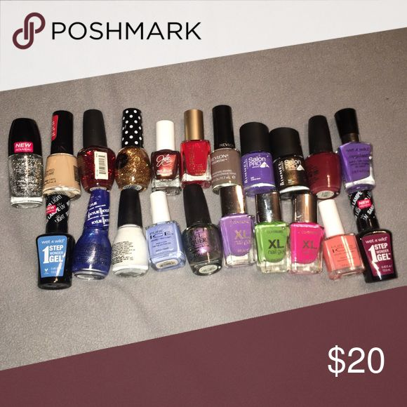 🚨FINAL PRICE🚨 💅🏻22 Nail-polish bundle 💅🏻 💅🏻22 Nail-polishes (various brands)💅🏻 These are used, but mostly full. OPI, Cover Girl, Wet & Wild, Rimmel, Revlon, Sinful Colors, PureIce, Pop-arazzi, L'Oréal, Julie G and Nanacoco. OPI Makeup