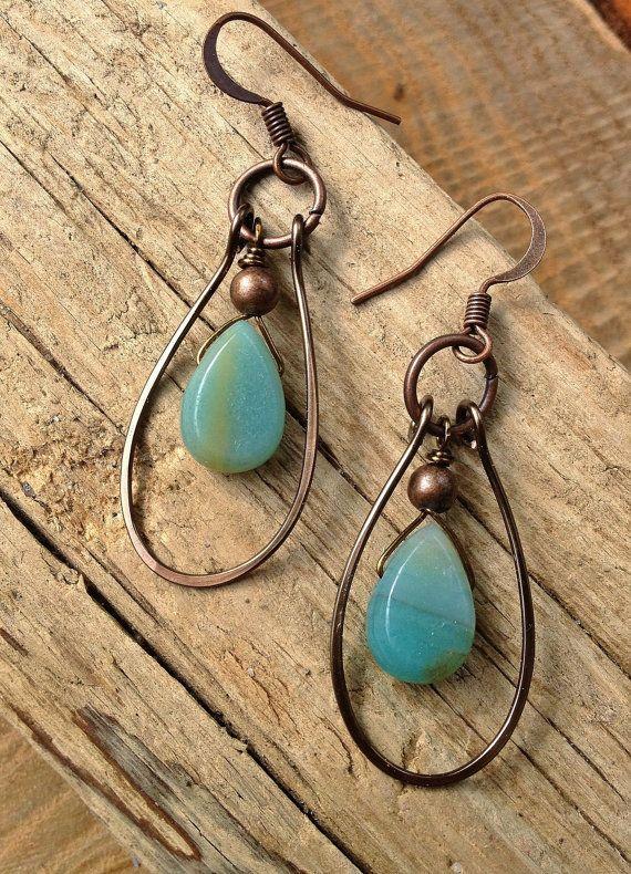 Handmade Earrings / Blue Green Turquoise Magnesite by Lammergeier 24.00                                                                                                                                                                                 Mais