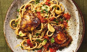 Yotam Ottolenghi's slow-cooked chicken with bucatini (and lots of garlic). Make it work without the pasta