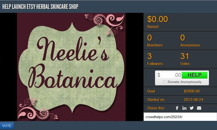 Help support the launch of Neelie's Botanica Etsy shop, dedicated to providing the best natural, organic, cruelty-free, and eco-friendly herbal skincare products that you can feel good about.  Please RT, Share and  Donate!  #crowdfunding #women #fundraising #donate