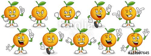 "Download the royalty-free vector ""Vector set of Orange mascot. Oranges characters."" designed by ednal at the lowest price on Fotolia.com. Browse our cheap image bank online to find the perfect stock vector for your marketing projects!"