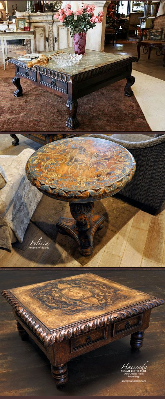 Accent Tables.. hand painted in old world colors and textures ❥Find them @ www.accentsofsalado.com