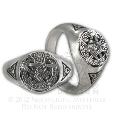 brides handfastings rings weddings sterling silver moon pentacle wiccan pagan pentagram rings by paul borda for dryad designs - Wiccan Wedding Rings