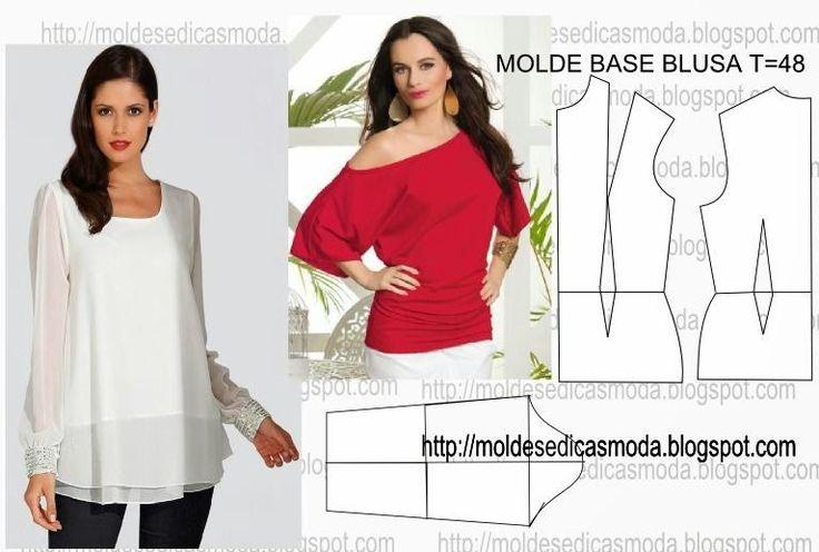 Molde para imprimir grátis. O molde base é a primeira etapa do processo de modelagem e é fundamental aos profissionais de moda.Esta basede blusa é larga.