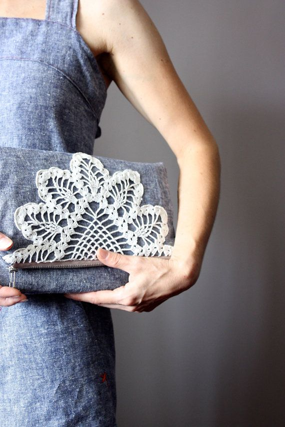 Foldover clutch bag  cotton /  linen handbag, Denim,  upcycled vintage crochet doily, envelope bag, zipper pouch