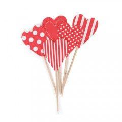 Διακοσμητικά για cupcakes - Καρδούλες κόκκινες
