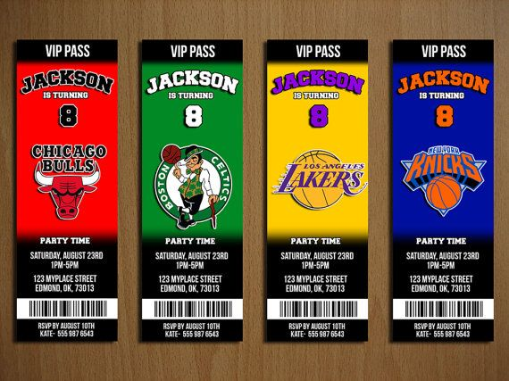 NBA Ticket Style Party Invitation!  ALL 30 TEAMS ARE AVAILABLE!  Purchase is for ONE TEAM ONLY    IMPORTANT INFO!    This purchase is for a digital