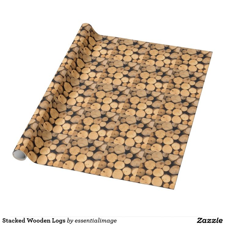 Stacked Wooden Logs Wrapping Paper