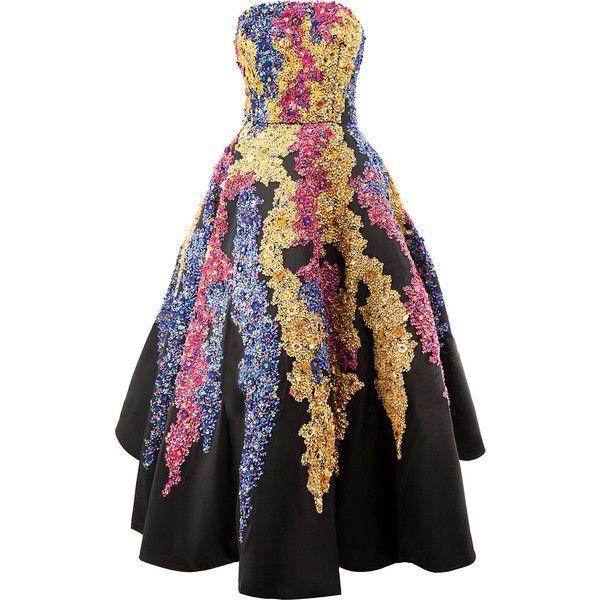 Oscar de la Renta sequin embellished evening dress ($28,105) ❤ liked on Polyvore featuring dresses, gown, black, multi coloured sequin dress, colorful cocktail dress, multi-color dresses, multi colored dress and multi coloured dress