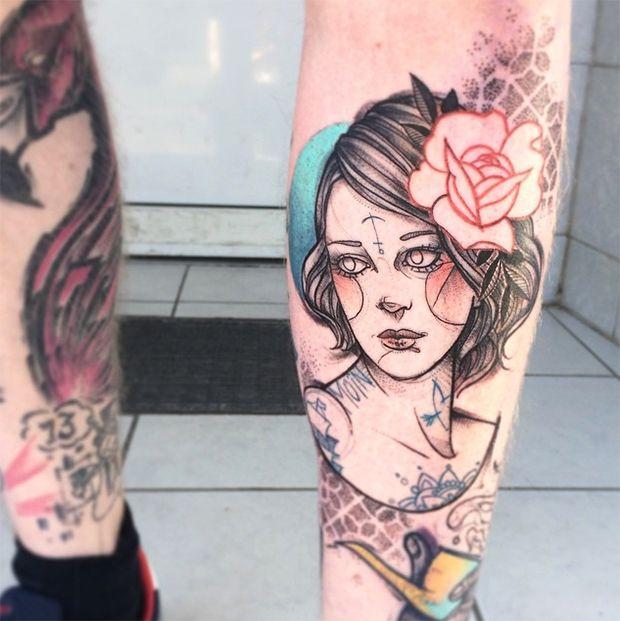 #tattoofriday - Os belos retratos de mulheres esboçados na pele por Anki Michler (Alemanha);
