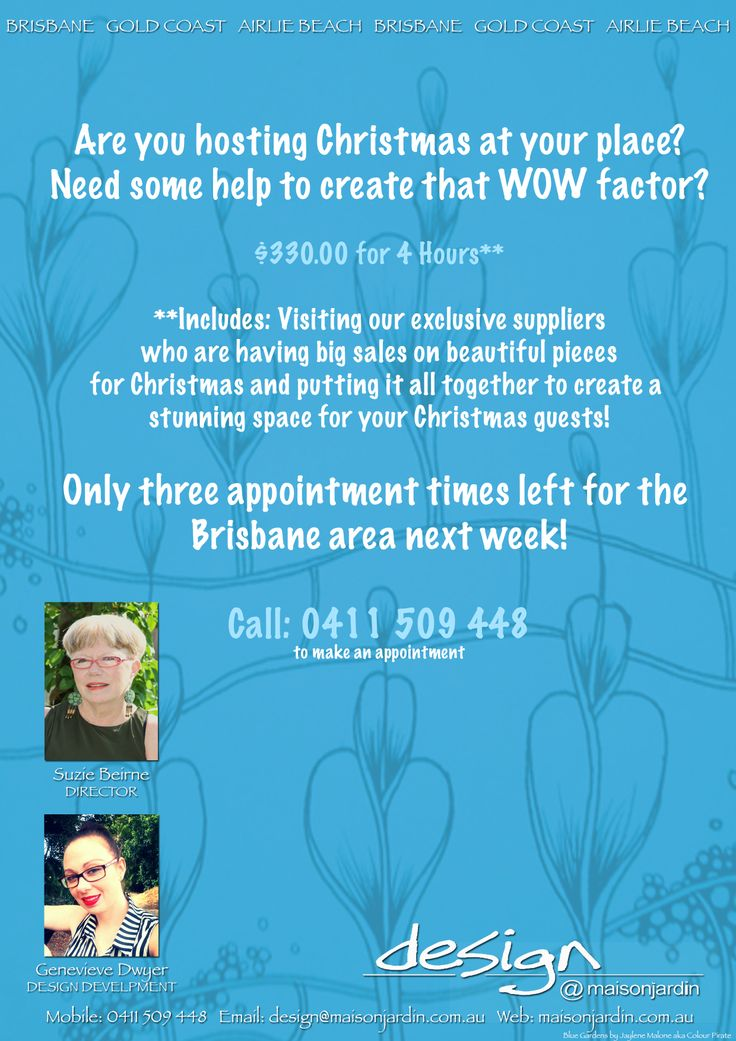 Hosting this Christmas at your place? Take advantage of our Christmas Special - Let us help you create that WOW factor in your home.  Phone: 0411 509 448 to book an appointment :)