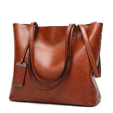 22ce3c85ba1 Women Oil Leather Tote Handbags Vintage Shoulder Bags - Banggood Mobile