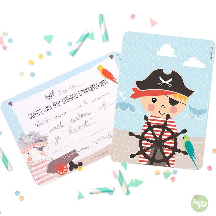 Uitnodiging kinderfeestje Piraat   © Papiergoed