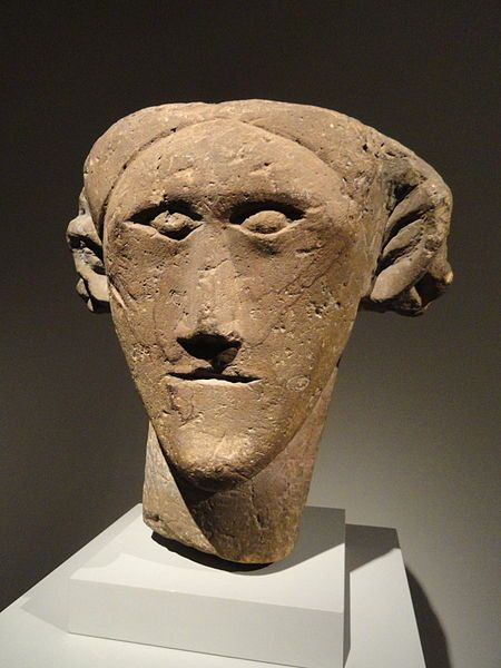 Celtic Head, about 100-300 AD, Romano-British, Northern England, sandstone with traces of red paint.