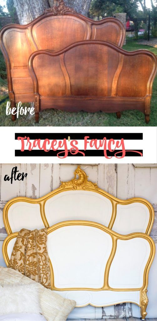 Classic White vs Classic Black Painted Headboard | Tracey's Fancy | Heirloom Traditions Alamode with Gold Trim makes a royal and luxurious painted bed | Furniture Makeover