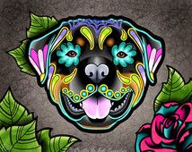 Rottweiler Day of the Dead Dog Sugar Skull Dog Art Print - 8 x 10 - Prints for Pits Rescue Donation