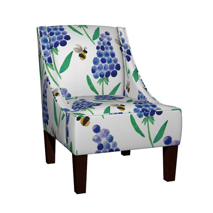 Venda Sloped Arm Chair featuring Muscari & Bees Watercolour Pattern by jessmorris | Roostery Home Decor