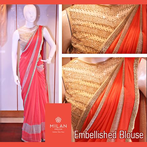 #‎MilanDesign‬ Presents - Trendy ‪#‎Saree‬ with Embellished Blouse