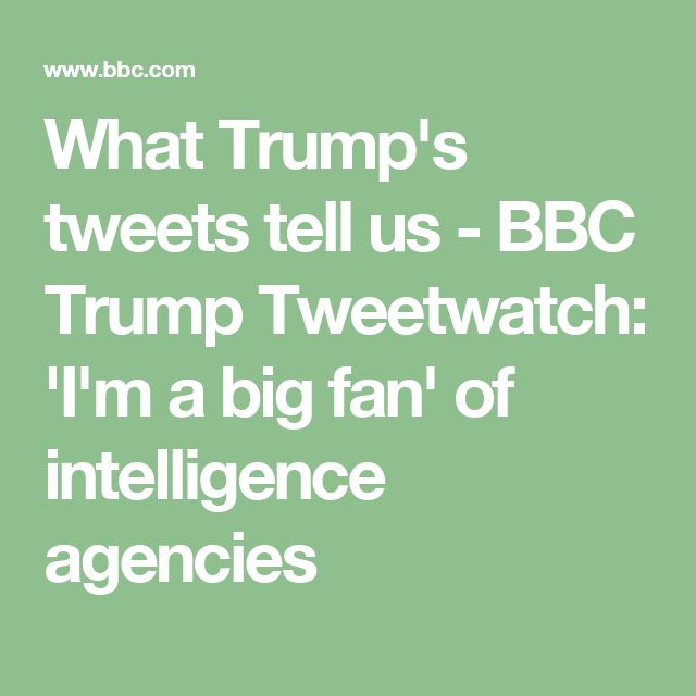 What Trump's tweets tell us - BBC Trump Tweetwatch: 'I'm a big fan' of intelligence agencies