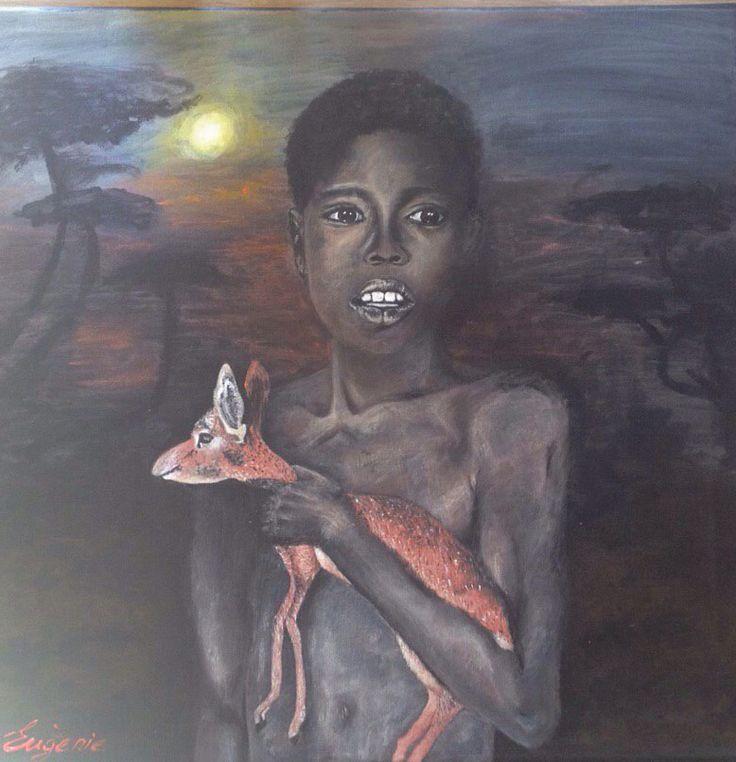 Boy with unknown animal Acrylic