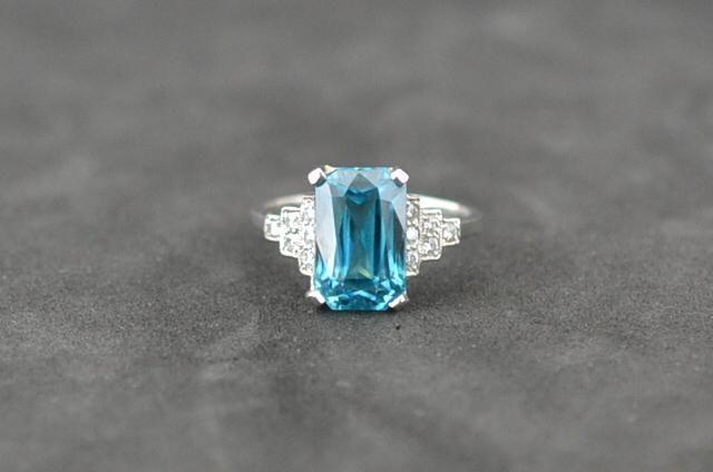6.77kt Blue Zircon and #diamond shoulders set in #Platinum #Dressring #cork #jewellery #platinumworksbespoke