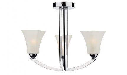 Arlington 3 Light Chrome Square Opal Glass