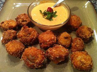 Deep Fried Mushrooms with Red Pepper Garlic Aioli