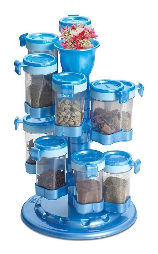 Multipurpose 12-jar Revolving Spice Rack at Just Rs. 880/-.  #couponndeal #kitchendeals #kitchenstorage #spicerack #masalabox