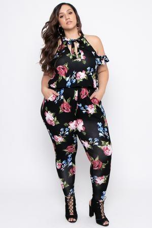 d9c11edbd9d Plus Size Floral Tie Neck Ruffle Jumpsuit - Black  bestpastamachine ...