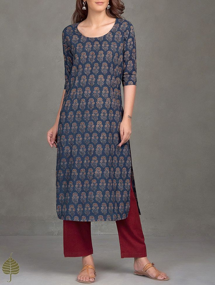 Buy Indigo Madder Black Ajrak Printed Cotton Kurta Women Kurtas Ajrakh Essentials Dresses and more Online at Jaypore.com