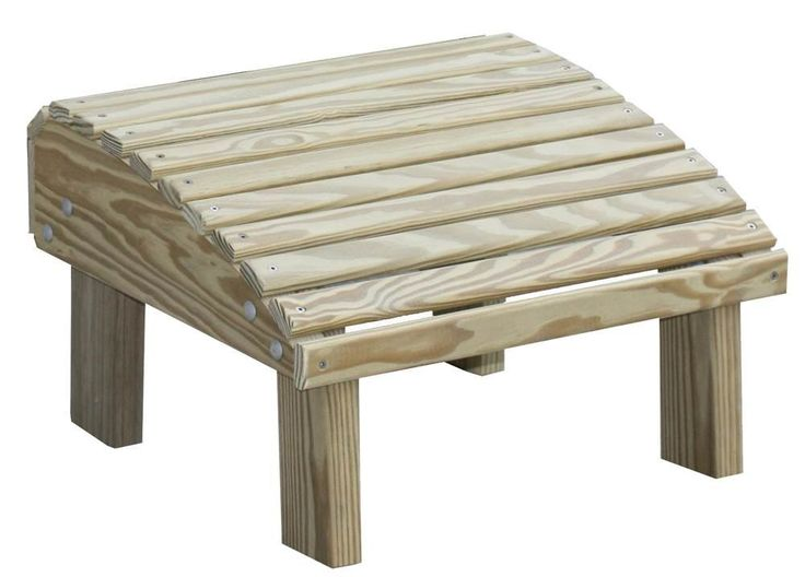 Adirondack Style Ottoman in Pine. Ottoman. Amish crafted from pressure treated pine. Smoothly milled for comfort and quality. Can be stained or painted. If left unstained will weather to soft gray.