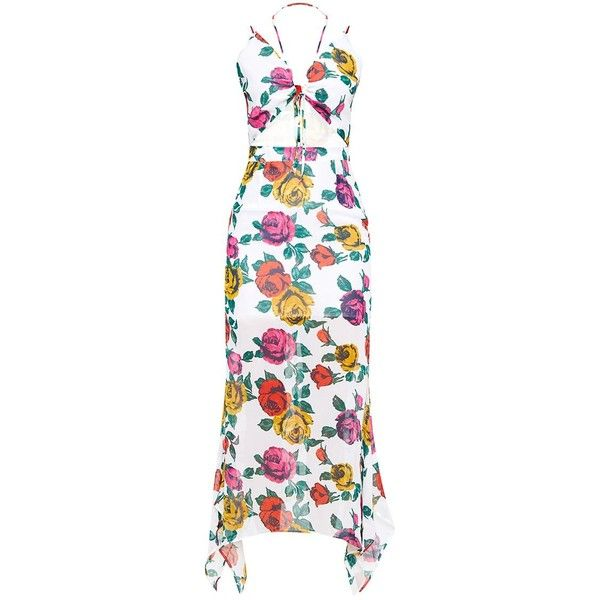 White Floral Cut Out Maxi Dress ($55) ❤ liked on Polyvore featuring dresses, white maxi dress, white day dress, white floral dress, white cut out dress and white floral print dress