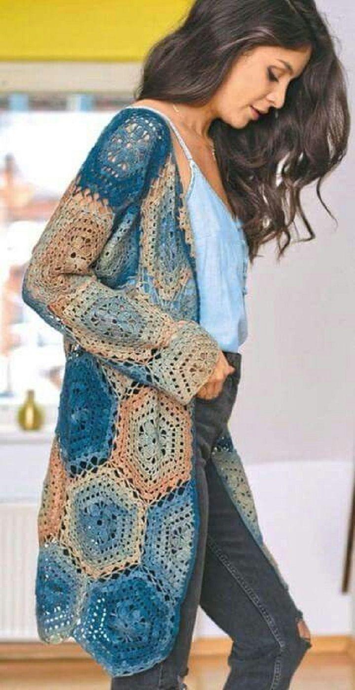 e7b110d544 45 Crochet Women Sweater Coat Cardigan Free Patterns  Open Front ...