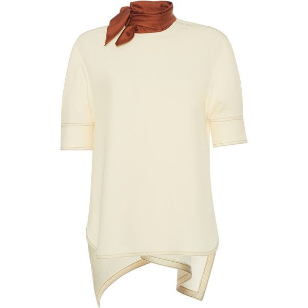 Marni Shor Sleeve Crew Neck Top ($420) ❤ liked on Polyvore featuring tops, short sleeve tops, marni, marni top, tie top and crew top