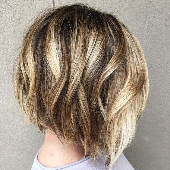 Balayage Short Bob Hairstyles for Women Thick Hair - Bob haircut with blonde highlights