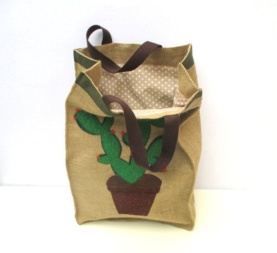 Cactus jute market tote one of a kindfarmers bag chic by Apopsis