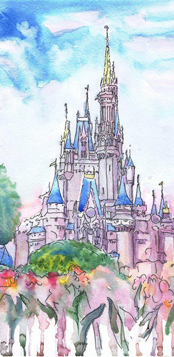 3ef888df6 Cinderella Castle Print Watercolor Painting Disney World #watercolor  #valrart #disneyworld