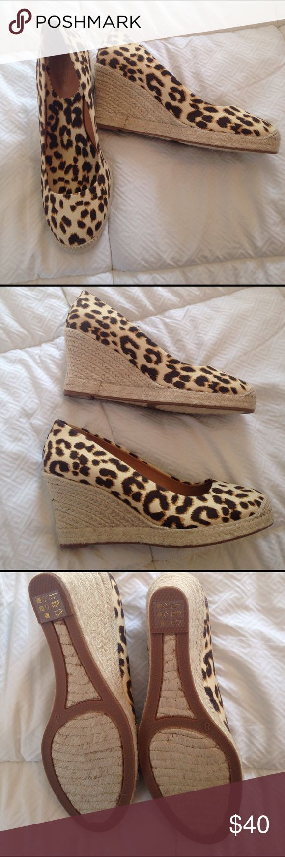 J Crew Outlet Fabric Espadrilles J Crew Outlet Fabric Espadrilles were never worn.  Fabric leopard print in size 8. Wedge heel is approx 3 3/4 high. No box. J. Crew Shoes Espadrilles