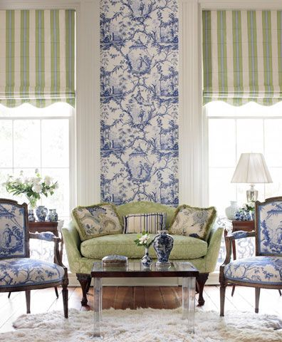 Blue and white toile and pale green