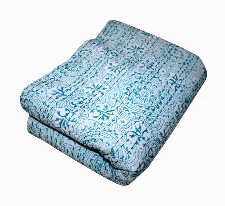 Vintage Indian Kantha Floral Bedspread Quilt Throw Ralli Cotton Blanket Queen #Handmade #Traditional