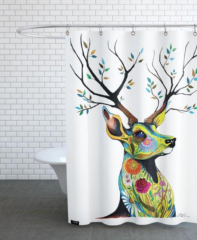 Deer Nature als Duschvorhang von Pixie Cold   JUNIQE
