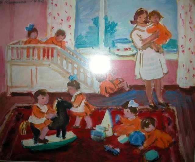 Кашина Нина Васильевна, детский сад, дети, ребенок, игрушки, купить картину Кашиной, продажа картин Кашиной, продажа советской живописи